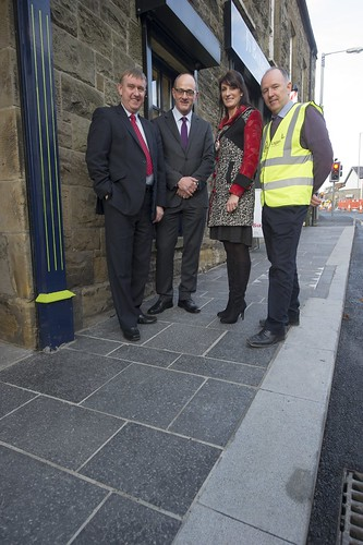 DSD Minister Mervyn Storey MLA pictured with Mark Kelso and Councillor Linda Dillon of Mid-Ulster Council as well as Patrick Heaney of Lagan Construction Group during a visit to Dungannon regeneration works