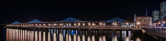 pier 7 bay bridge reflections (pbo31) Tags: sanfrancisco california bridge urban panorama black color reflection night dark lights bay nikon december large panoramic baybridge embarcadero 80 stitched 2015 boury pbo31 d810