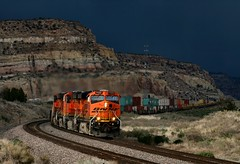 Threatening Skies (knutsonrick) Tags: storm train bnsf darksky stormlight diffusedlight doublestacks bnsfrailway stacktrain gallupsub