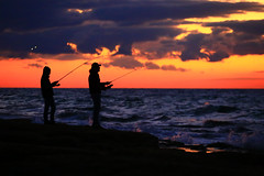 Fishermans at sunset - Tel-Aviv beach (Lior. L) Tags: fishermansatsunsettelavivbeach fishermansatsunset telavivbeach fishermans sunset telaviv beach sea seascapes silhouettes travel travelinisrael clouds nature sky winter winterinisrael