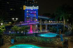 Disneyland Hotel Swimming Pool Night Shot (Domtabon) Tags: california dl dlr disney disneyland disneylandhotelswimmingpool disneylandresort mousewait