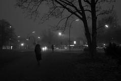 Hansaplatz - Berlin Moabit (elisachris) Tags: berlin mitte moabit tiergarten hansaplatz nacht night nebel fog dunkel dark urban stadt street streetphotography schwarzweis blackandwhite ricohgr
