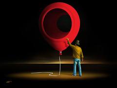 Balão Vermelho. (Marcel Caram) Tags: digitalart digitalpainting digitalartwork photoshopart photoshop surrealism salvadordali surrealismo surreal surrealistic marcarambr magritte maxernst brazil fantasyart fridakahlo fineart marcelcaram balão balãovermelho balloon arquitetura architecture