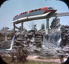 Tomorrowland Reel 2, #7a - The Monorail Glides High Over Scenic Waterfalls (Tom Simpson) Tags: viewmaster slide vintage disney disneyland 1960s vintagedisney vintagedisneyland