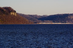 Along The Big River (Hoist!Man) Tags: bnsf potosiwi train railroad locomotive pentaxk10d mississippiriver bluff water