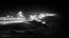 Foggy Coast Road 4/52 (amipal) Tags: bench coast england fog gb greatbritain longexposure manuallens night nightlight saltdean sussex uk unitedkingdom voigtlander winter 175mm light streams trails