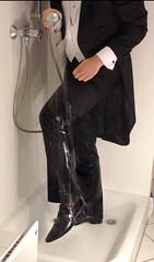 white-tie-shower-1_10300243146_o (shinydressshoes) Tags: tails tailcoat tuxedo suit muddy gunge wet shiny shoes shinyshoes leather patent dressshoes groom wedding whitetie frack formal shower lackschuhe lackschuh