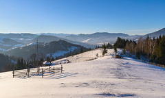 Kryvorivnya (Ash and Debris) Tags: view shadow landscape winter woods mist mountains hills hill snow trees ukraine forest wood fence sky carpathians nature village mountain country