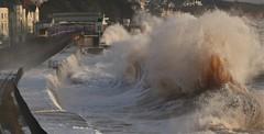 High tide at Dawlish in a southeasterly gale (matt.clark25) Tags: storm sea waves spray stormy coast winter railway train trains dawlish devon light sunlit foam gale transport weather impact weatherimpact