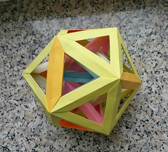 "Six tetrahedra in an icosahedron, another ""three-fold"" view (Aneta_a) Tags: origami modularorigami polyhedron polyhedra polypolyhedra icosahedralsymmetry octahedralsymmetry simplepaper icosahedron tetrahedron dirkeisner francisow tomokofuse"