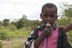 A young boy eats fresh cassava root, Mkuranga district, Tanzania. Photo H.Holmes/RTB