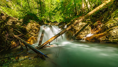 little waterfall (Urs Walesch) Tags: sun water sunshine creek woodland waterfall stones nd autumnal waterflow bole wasserfallhölltobel