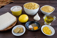 tasty vegan ingredients (Husbands That Cook) Tags: vegan lemon tofu casserole pasta vegetarian garlic mustard turmeric thyme macandcheese nutritionalyeast veganomicon veganmacandcheese