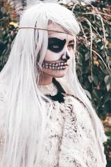 Hel death side (Kilkennycat) Tags: portrait canon children skull costume child goddess viking hel norse whitehair 500d paintedface icelandicgirl halloweendressup kilkennycat t1i ryanconners 24mmpancake