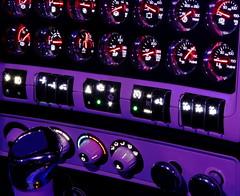 Flying low (jr-transport) Tags: light purple cockpit led dash gauge shifter gauges gage multiplex kenworth gages swithces whelanbros