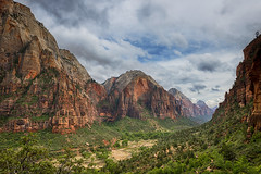 If you could say it in words there would be no reason to paint... (ferpectshotz) Tags: mountains rain utah cloudy canyon hike angelslanding zionnationalpark southwesternutah zioncanyon