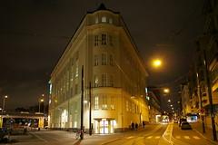 2015 Bike 180: Day 271, December 22 (olmofin) Tags: street light bicycle night finland lumix helsinki tram streetcar ruoholahti f25 ruoholahdenranta 14mm baana 2015bike180