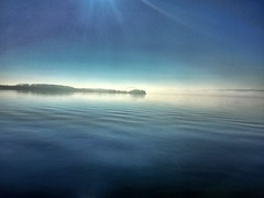 Afternoon fog on the Hudson. (Lawrence Lazare) Tags: sky mist fog sunrise dawn horizon dramatic bluesky calm dramaticsky cloudscape cloudysky skyclouds sunnysky blueskyclouds