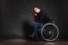Sad woman sitting on wheelchair (IWillHaveHam) Tags: wheelchair sad woman person disabled handicapped sitting lonely girl disability young depression patient invalid female sadness health unhappy handicap depressed people despair problems dark real loneliness poland