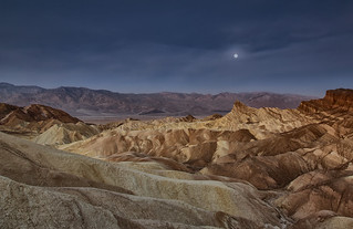 Moon Setting over Manly Beacon in Death Valley National Park