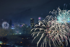New Year Fireworks and Smoke (Sumarie Slabber) Tags: makaticity manila philippines sumarieslabber night newyear2017 city buildings fireworks skyline photography nikon d750 lowlight outdoor celebrations