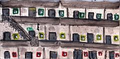 in Schuhschachteln wohnten wir. Das war vor dem Krieg. Was für herrliche Häuser unser Anführer uns beschert hat (raumoberbayern) Tags: sketchbook skizzenbuch tram munich bus strasenbahn pencil bleistift ballpoint paper papier robbbilder stadt city landschaft landscape spring frühling summer sommer trip germany car münchen home hannover wohnung hausbau flat condos