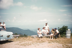 Mother, Chuck, Ruth Conner, Dave Conner, Buddy, Susan Conner, Mickey Conner Atop Blue Ridge Parkway NC 080854.jpg (buddymedbery) Tags: years daveconner ruthconner friends 1954 family northcarolina unitedstates 1950s buddymedbery chuck mother