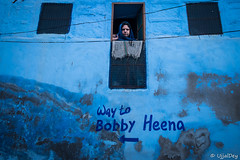 Direction (ujjal dey) Tags: fujifilm india jan2017 jodhpur rajasthan ujjal ujjaldey xe2s ujjaldeyin blue house direction face window hidden streets candid inquisitive peek