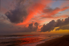 Sunset on the Gulf (025375) (Mike S Perkins) Tags: ftmorgan landscape clouds yellow blue waves mar sea ocean coast beach alabama gulfshores gulfcoast gulfofmexico orange red vibrant colorful reflect
