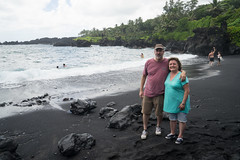 At the black sand beach