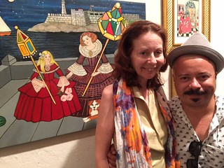 Art Circuits' art critic Elisa Turner with Miami Dade Public Library exhibitions curator Oscar Fuentes during the Margarita Cano Opening