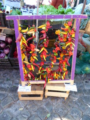 Peppers (cyclingshepherd) Tags: food portugal colors fruit pepper colorful colours display market eggplant stall august vegetable cada mercado lettuce aubergine colourful algarve chilli melon brinjal capsicum chillies olhao olho melo beringela 2015 cyclingshepherd malaguete