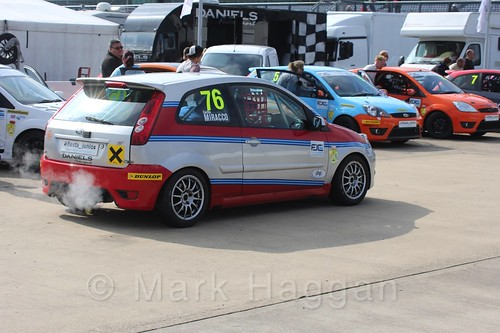 Carlito Miracco in the Assembly Area for Race 1, Fiesta Junior Championship, Rockingham, Sept 2015