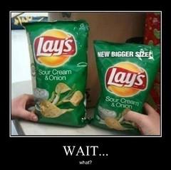 The Smaller Bag Has More Chips in It (Chikkenburger) Tags: posters memes demotivational cheezburger workharder memebase verydemotivational notsmarter chikkenburger