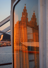 Liver Building Reflected (.annajane) Tags: uk sunset england reflection window ferry liverpool river pierhead merseyside liverbuilding rivermersey