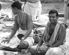 south india (gerben more) Tags: shirtless india man men blackwhite necklace priest puja southindia brahmin