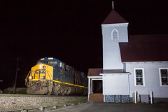 Dante at Night (New Edit) (Peyton Gupton) Tags: railroad church dante erwin csx csxt clinchfield clinchfieldrailroad