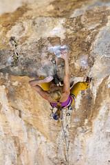 "Blowing the ""white stuff"" (Vertical Planar - planars.wordpress.com) Tags: girl athens climbing limestone tufa attica sportclimbing hymettos ymittos koropi     vrachokipos   athensclimbingguidebook"