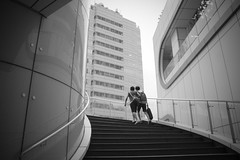 city visitor (Clarke Chen ) Tags: city bw stair friendship
