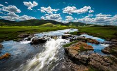 Small Mongolian River (Bo47) Tags: green water grass clouds river landscape asia hills mongolia done geotag hdr highdynamicrange 2014 uvurkhangai bo47 nikkor1424mmf28 nikond800 bonielsen batulzii wwwjustwalkedbycom wwwbonielsenme