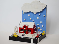 Microscale Winter Vignette (Razvy_cluj_ro) Tags: street winter house snow building scenery lego mini micro snowing vignette moc microscale miniscale