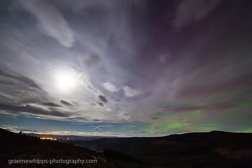 Aurora and lunar halo