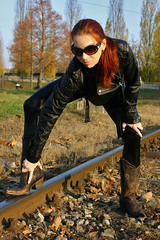 Cora 16 (The Booted Cat) Tags: sexy red hair model girl woman leather boots cowboyboots leggins jacket
