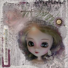 A  season of contemplation (spunsugarsalon) Tags: winter frost coldweather silver glitter dollpic dollphotography pullip fashiondoll bigeyes greeneyes scrapbooking overlay contemplation peaceful serene whimsical paperflowers mixedmedia bighead christmas reflection