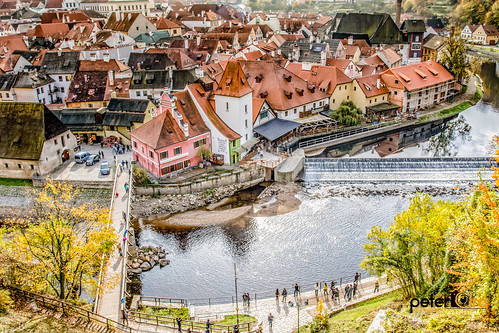 Looking over the town of Cesky Krumlov from the castle in the Czech Republic