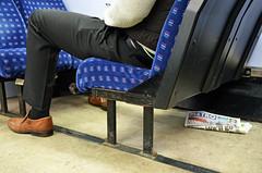 Metro (sgreen757) Tags: metro newspaper trash discarded floor train man brown shoes passenger seat under nikon d7000 gwr sprinter dmu class 150 observation