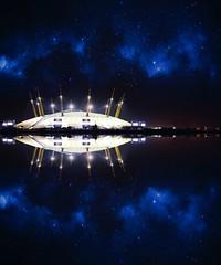 O2 Fractal Night (l.cutolo) Tags: london city on1raw worldtrekker uk mirror tlp aperture stars nex7 sony e24mmf18za glow water theo2 night