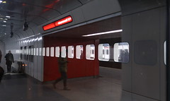Underground reflections (No_Mosquito) Tags: underground subway transportation mass urban city night light red people vienna wien austria europe canon powershot g7x mark ii reflections u1 window kaisermühlen international centre mysterious