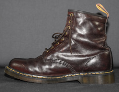 Dr Marten 1460 Brown . Not so Old. (CWhatPhotos) Tags: cwhatphotos doc docs doctor marten martens air wair airwair bouncing soles original close up 8 hole lace boots boot drmartens docmartens dms rouge old vintage dark brown cushion sole foot laced laces photo photos picture pictures with that have dr comfort cushioned wear feet foto fotos which contain footwear 1460 1460s england years year love mine me z welt dm drmarten made engalnd canon 5d mk ii leather bouncingsoles