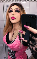 Pink lips, selfie in the mirror (Juliapanther Over 33 million views, thanks!!!) Tags: julia panther juliapanther lips lipstick pink top glam glamour portrait selfie mirror reflection nails long posing eyes makeup goth gothic